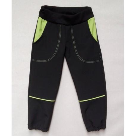 Kalhoty softshel - černo-zelené