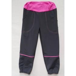Kalhoty softshel - šedo-růžové